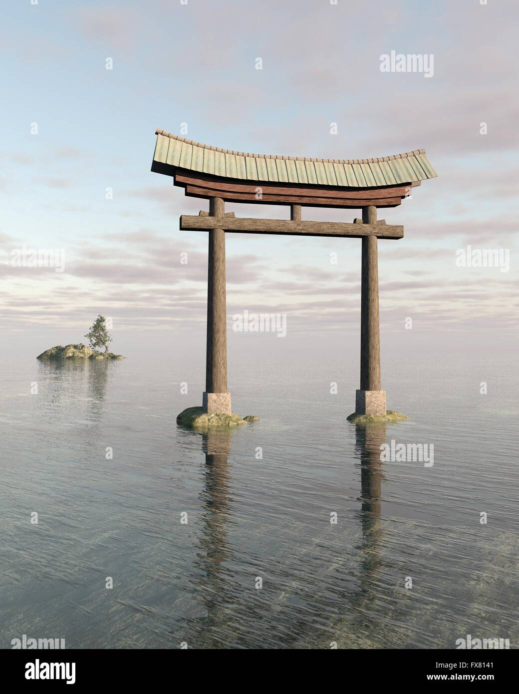 Japanese Floating Torii Gate at a Shinto Shrine - Stock Image