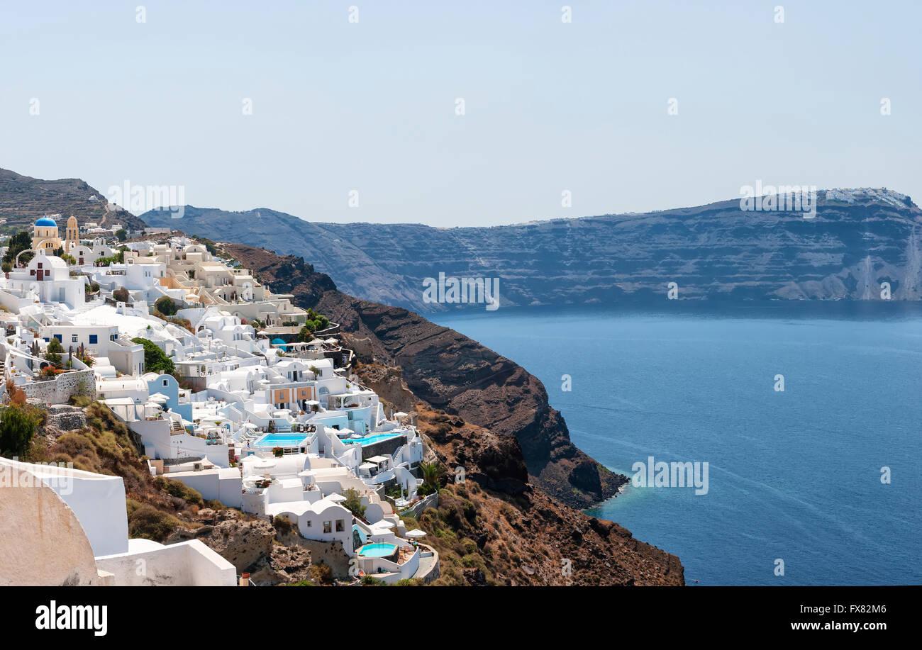 A panoramic stitch of Oia, Santorini island in Greece. - Stock Image