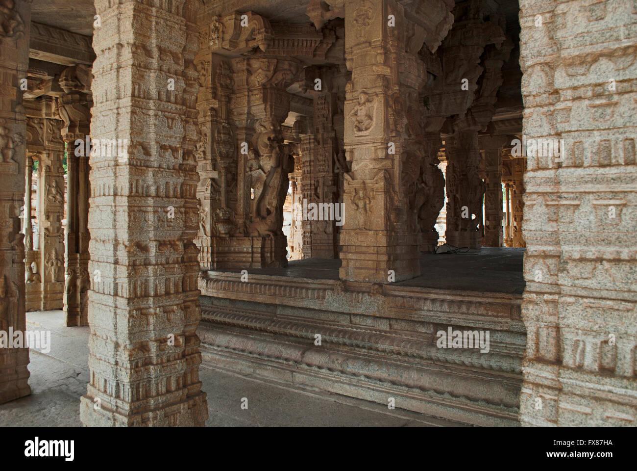 Mythical creatures called Yalis, carved on pillars. Kalyana Mandapa, Vitthala Temple complex, Hampi, Karnataka, - Stock Image