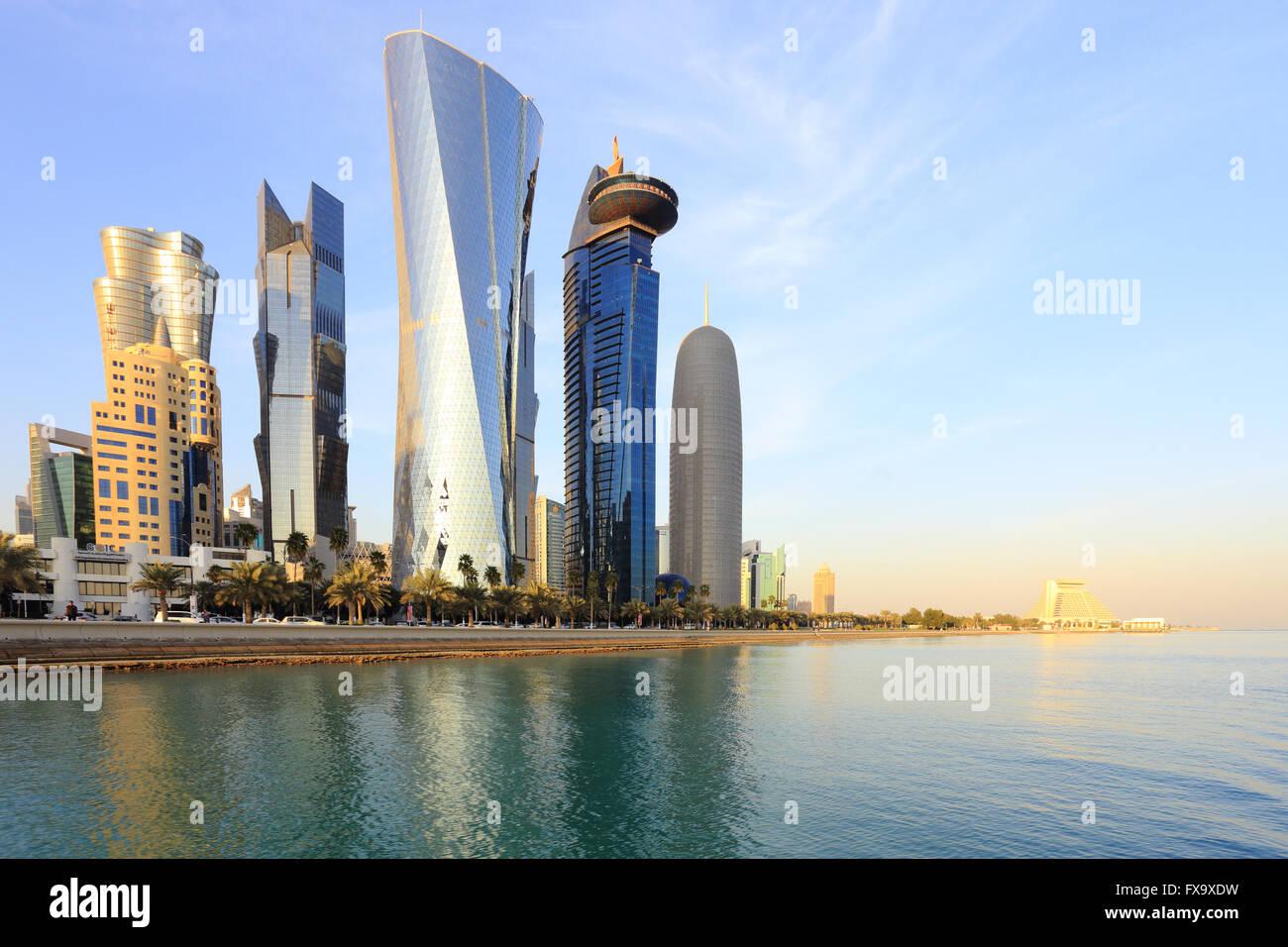 DOHA, QATAR -JANUARY 31, 2016: A view of the towers looming over Doha Bay. - Stock Image