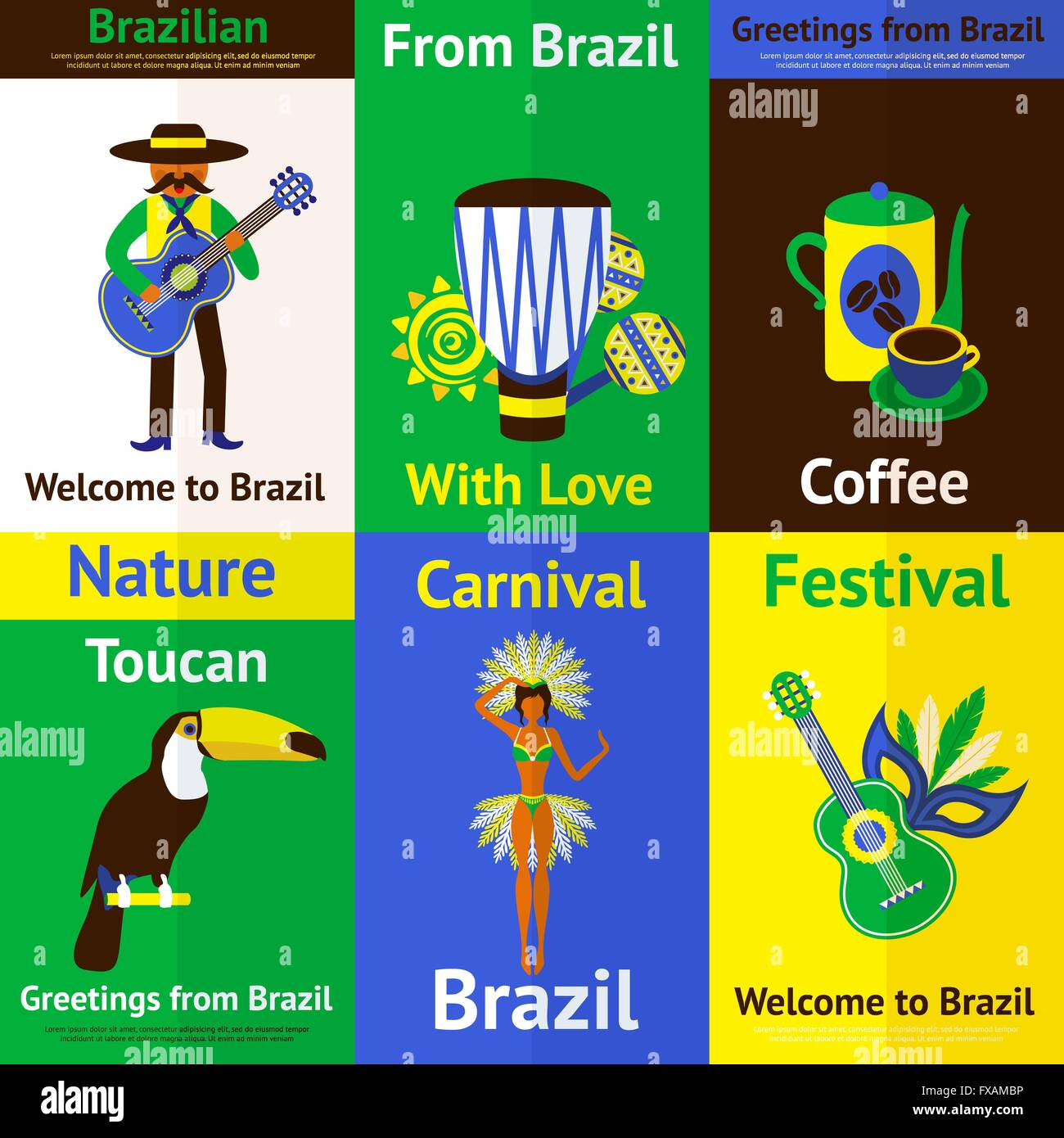 Brazil mini poster set stock vector art illustration vector image brazil mini poster set m4hsunfo