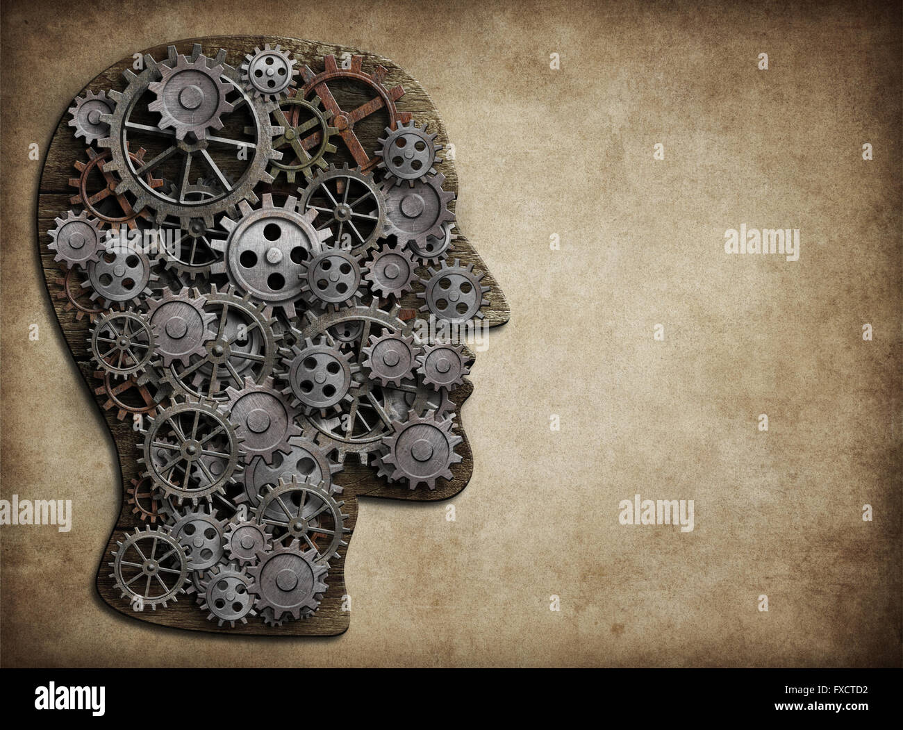 Head made from gears and cogs. Brain activity, idea concept. - Stock Image
