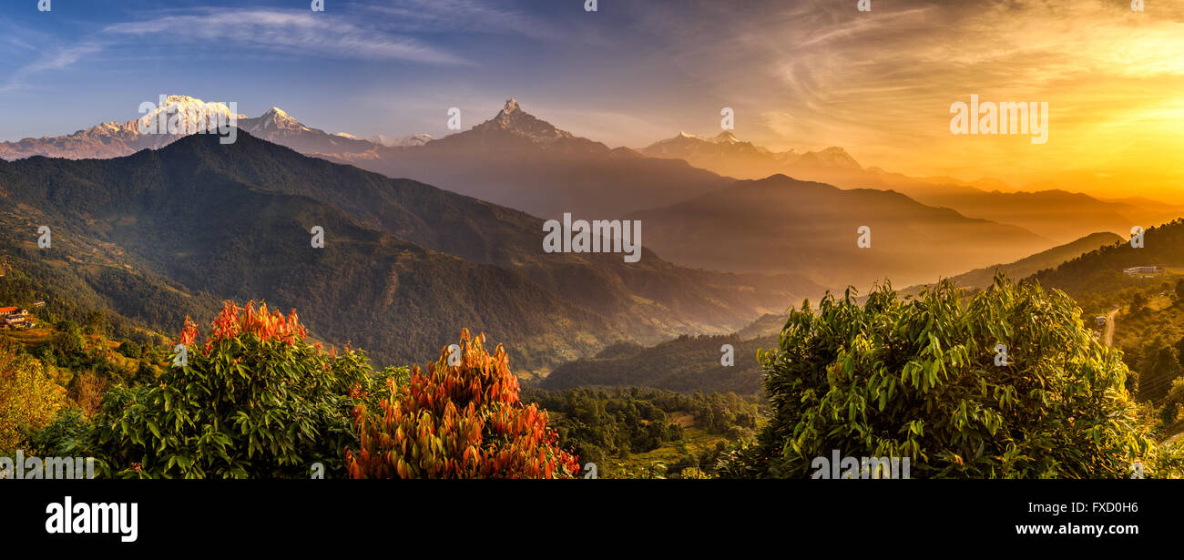 Sunrise over Annapurna. Annapurna is a collection of mountains in the Himalayas near Pokhara in Nepal - Stock Image