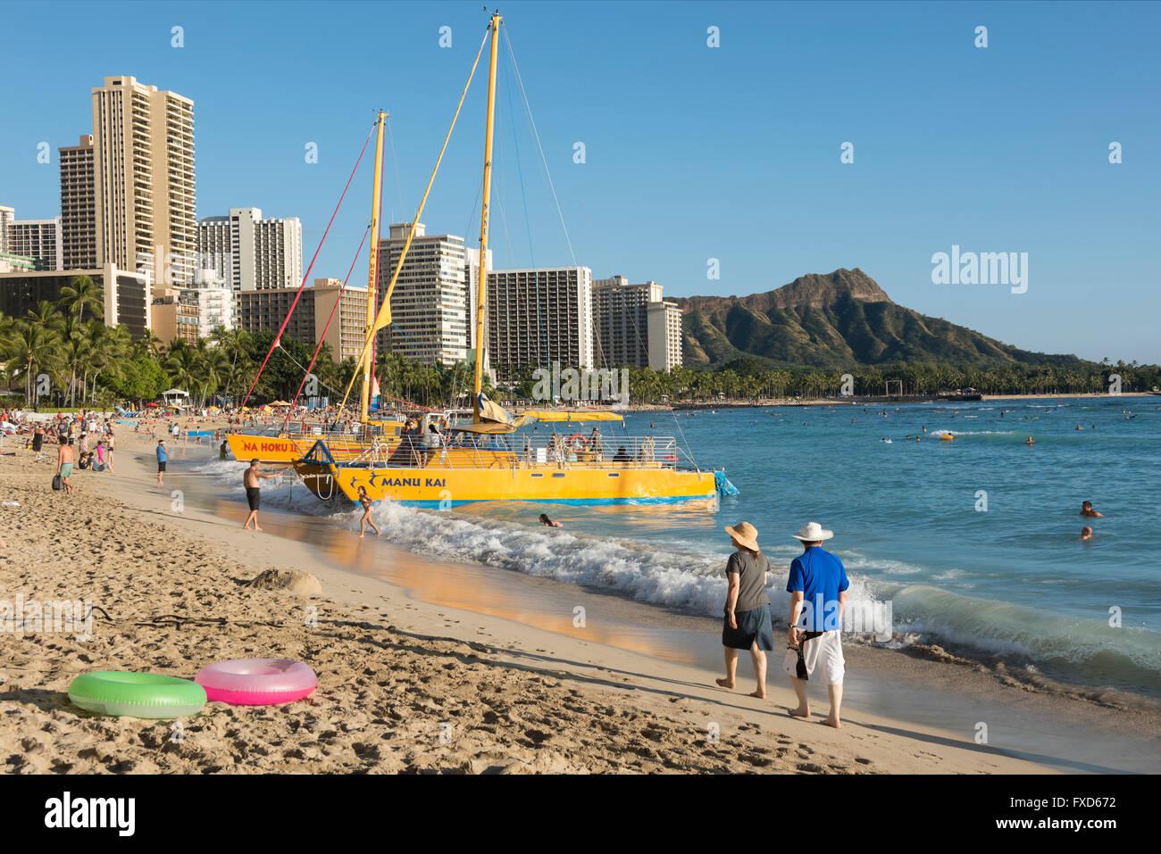 USA, Hawaii, Oahu, Honolulu, Waikiki Stock Photo