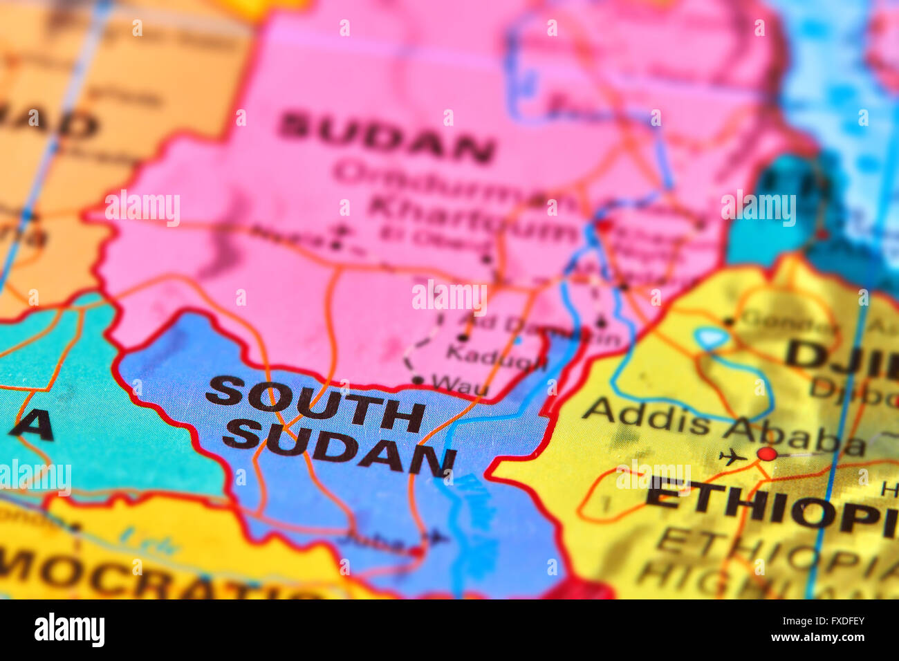 South Sudan Country in Africa on the World Map Stock Photo ...