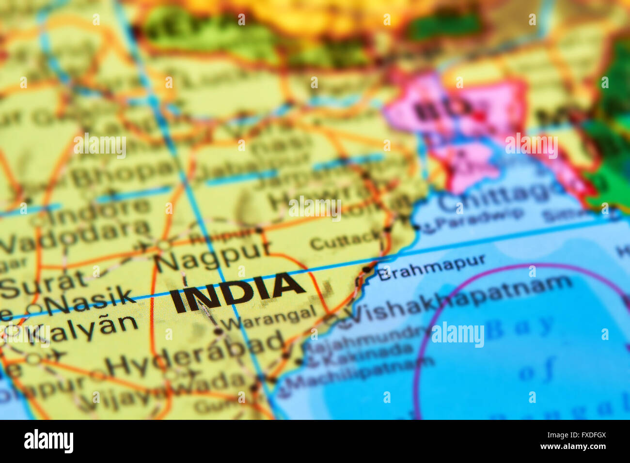 India Large Asian Country On The World Map Stock Photo 102330506