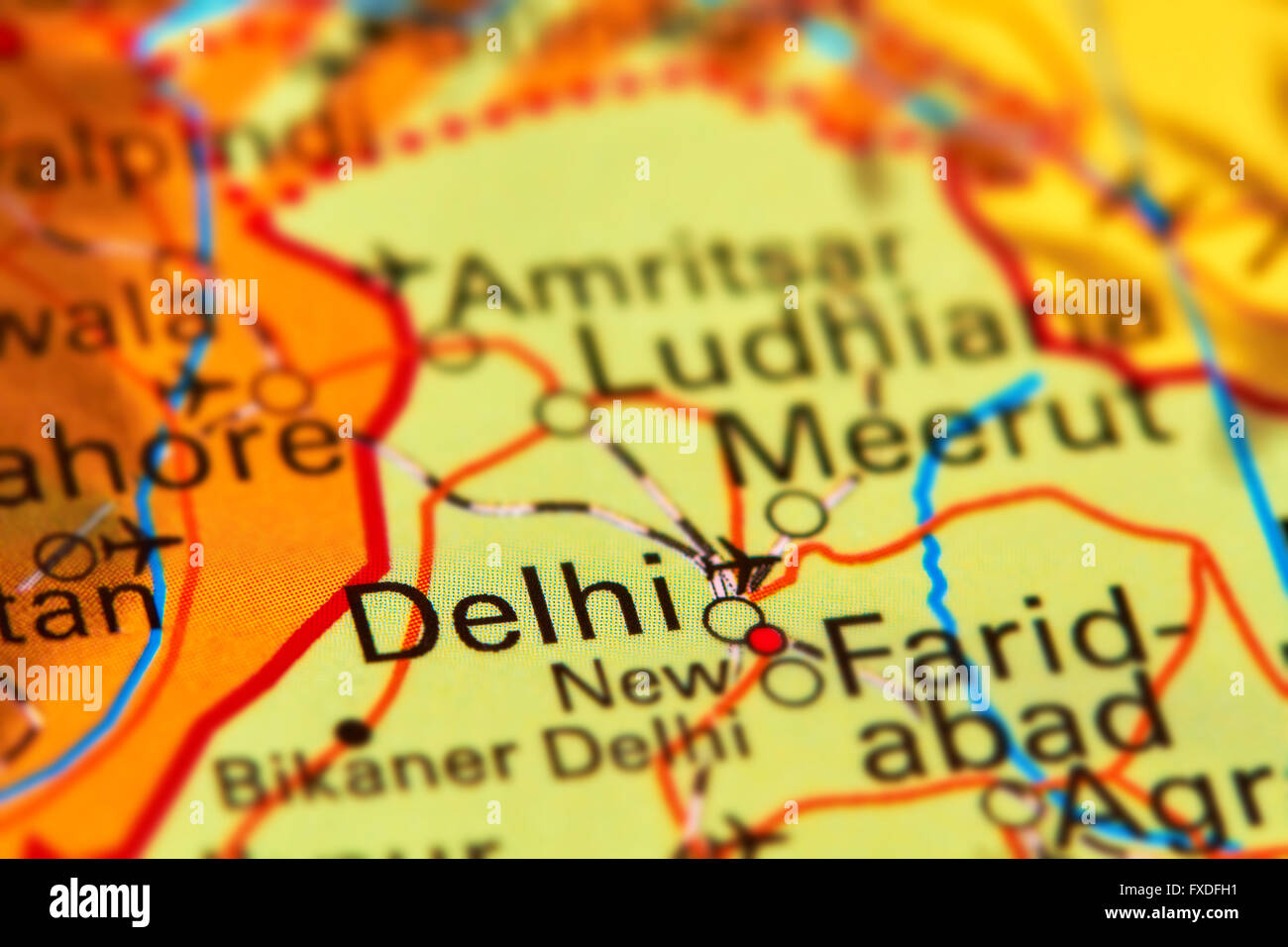 Delhi City In India Asia On The World Map Stock Photo 102330509