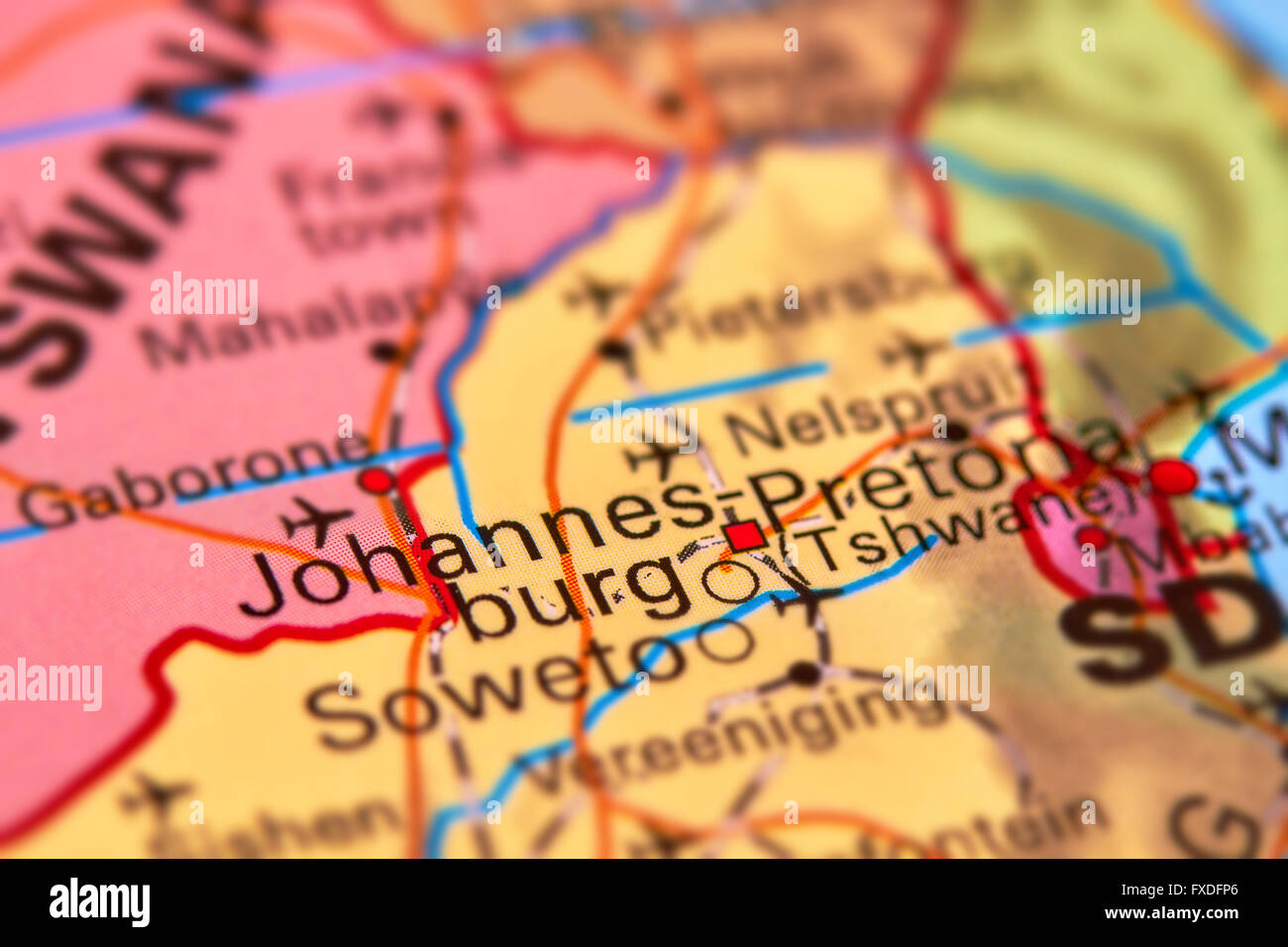 Johannesburg City in South Africa on the World Map - Stock Image