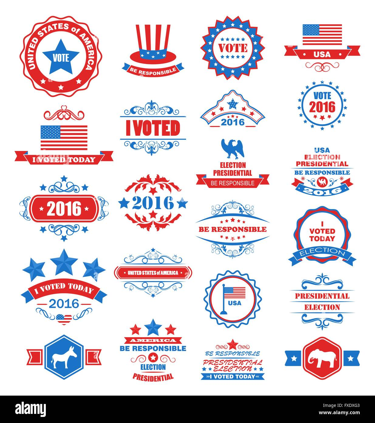 Objects And Symbols For Vote Of Usa Stock Vector Art Illustration