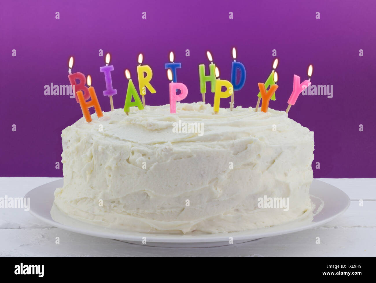 Birthday Cake On White Table With Candles Stock Photo 102347765 Alamy