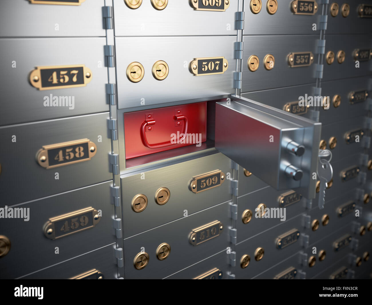 Safe deposit boxes with open one safe cell. 3d illustration Stock Photo