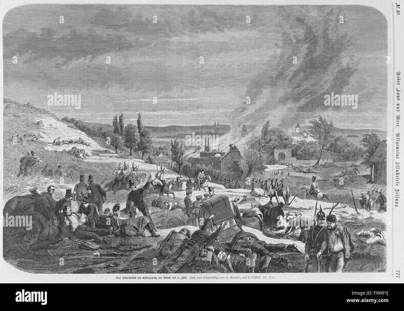 Schlachtfeld von Königgrätz am 03.07.1866 - Stock Image
