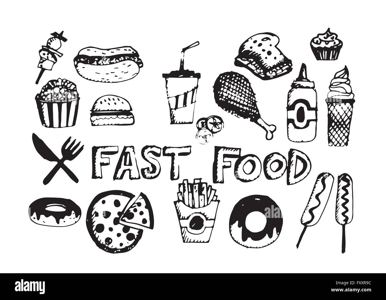 Fast Food Icons Vector Symbols Stock Vector Art Illustration