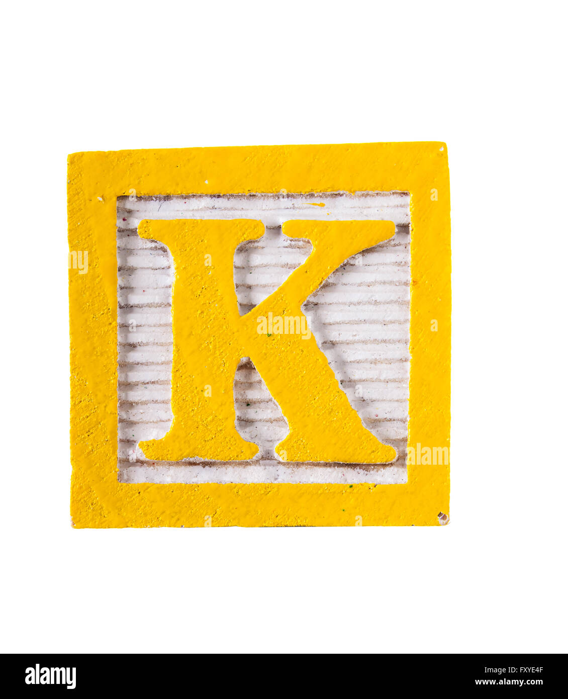 wooden alphabet block with letter k isolated on white