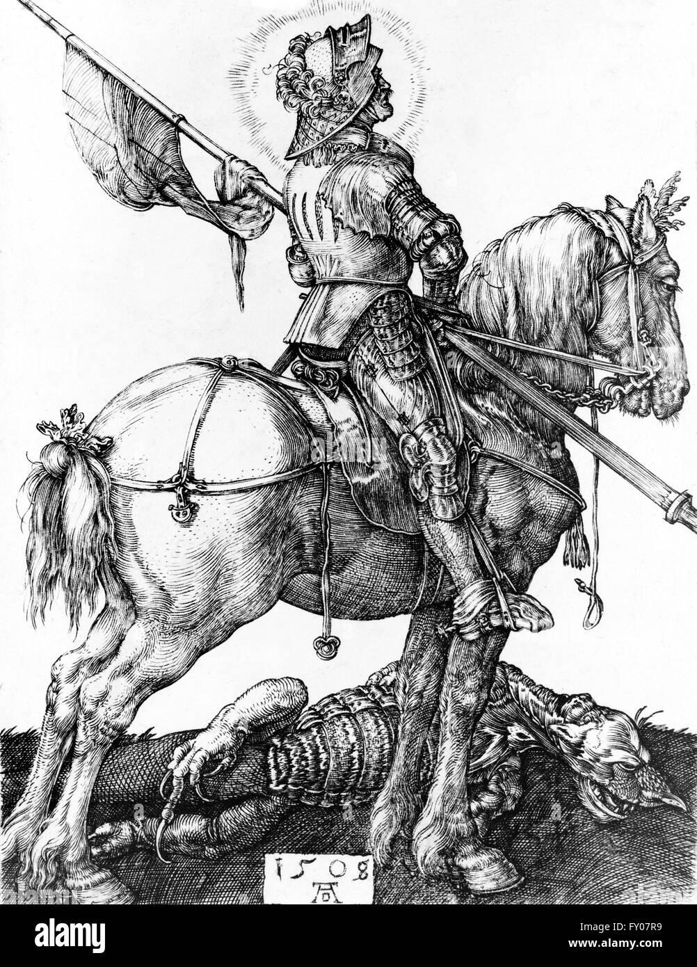 An illustration of St George on horseback, having slayed the dragon. Artist, Albrecht Dürer, 1508 - Stock Image