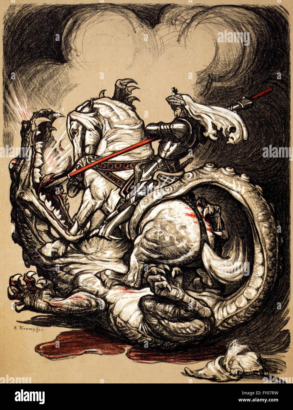 An illustration of St George on horseback, slaying the dragon. Artist, Edward Kaempster,  1914 - Stock Image