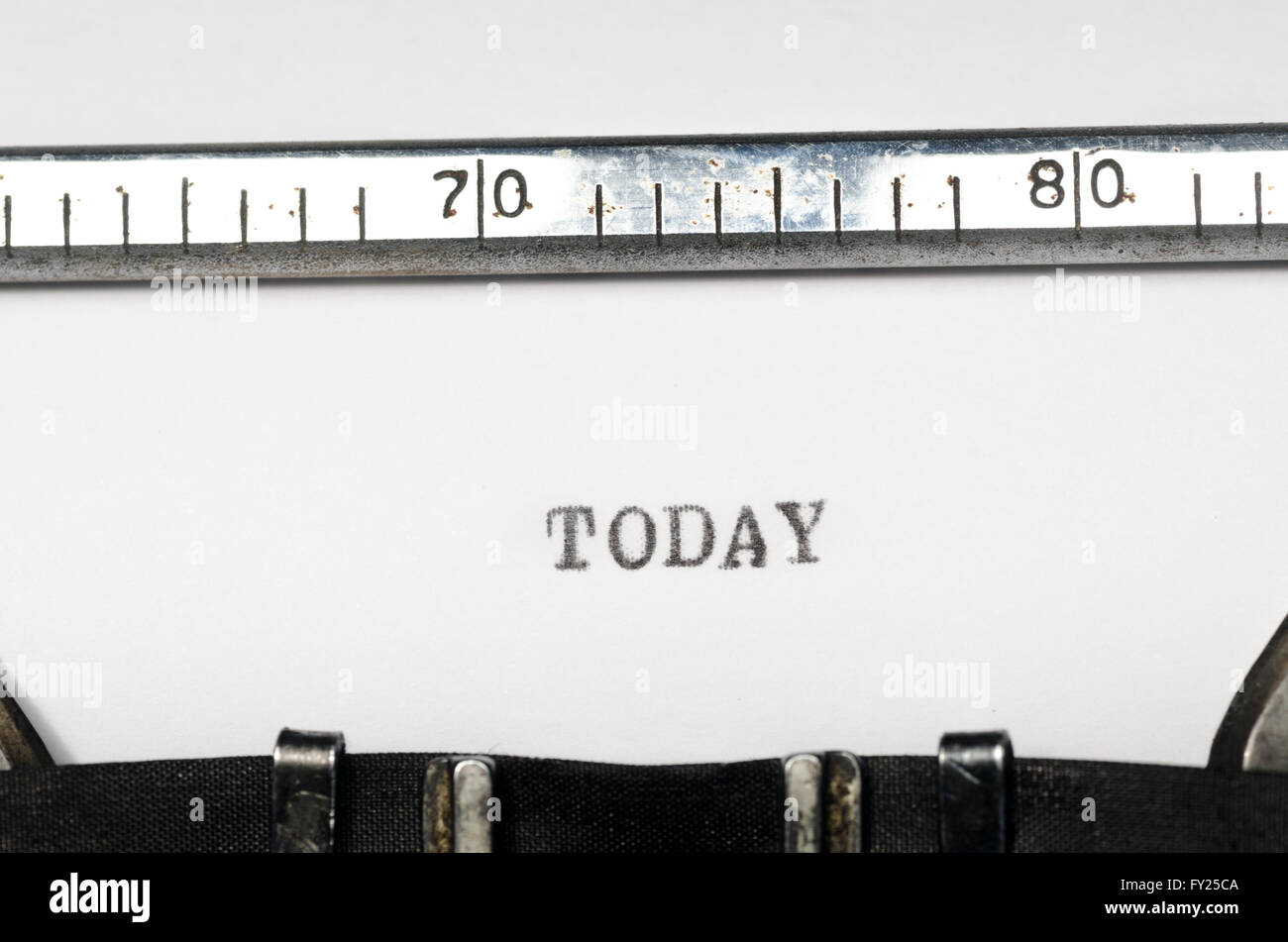 word today typed on  old typewriter - Stock Image