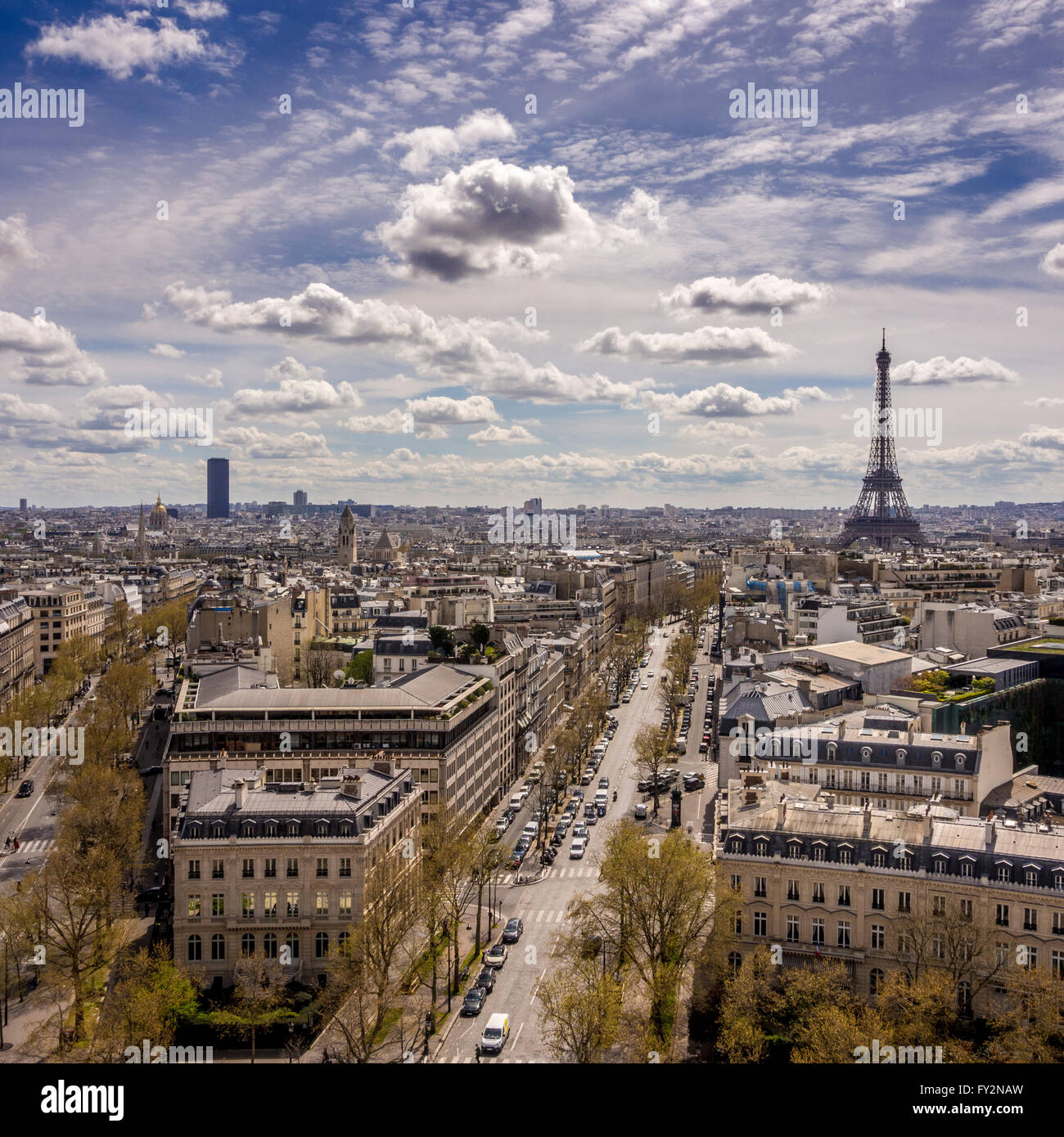 View towards the Eiffel Tower and Montparnasse Tower from the Arc de Triomphe, Paris, France. - Stock Image
