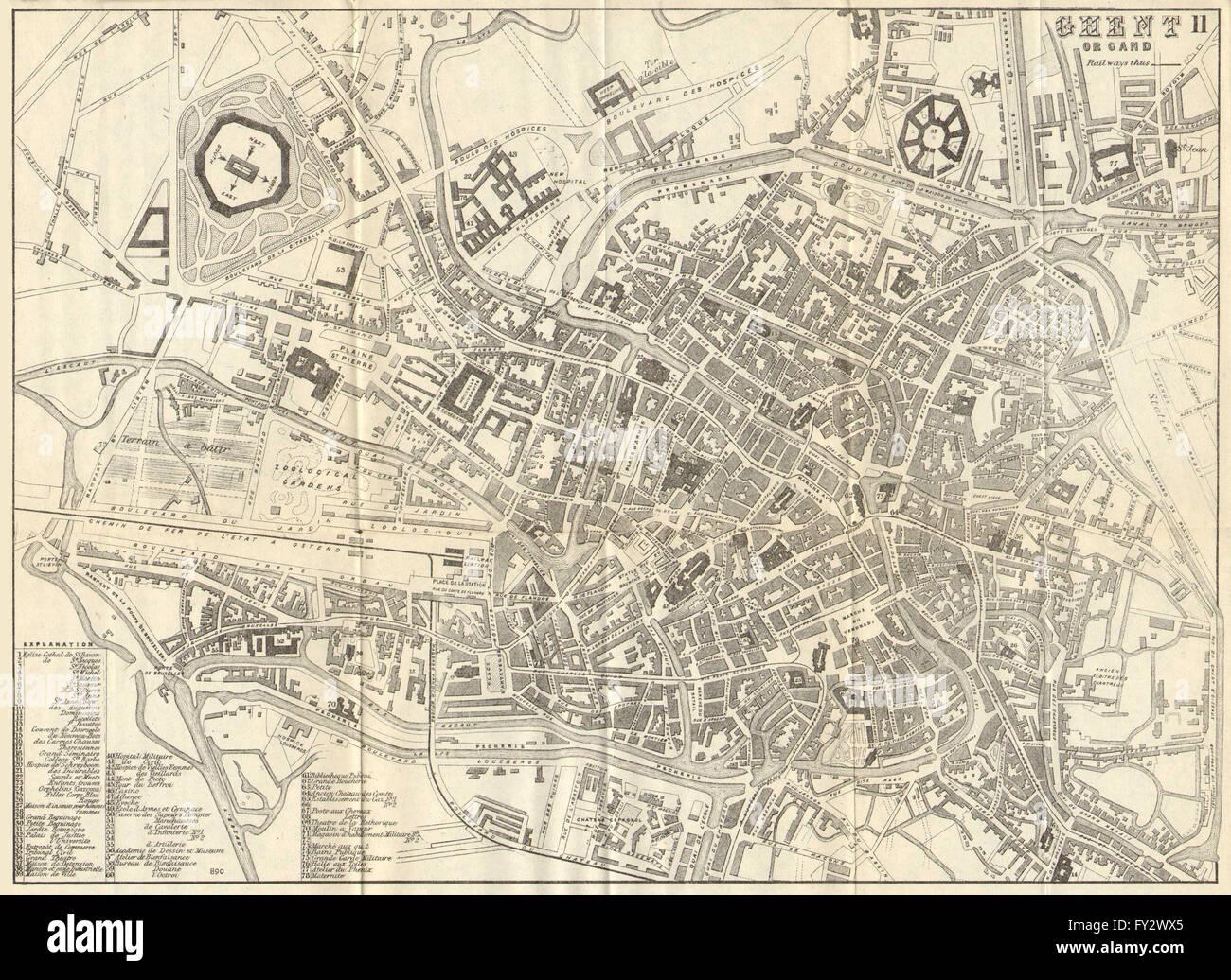 GHENT GENT GAND Antique town plan City map Belgium BRADSHAW