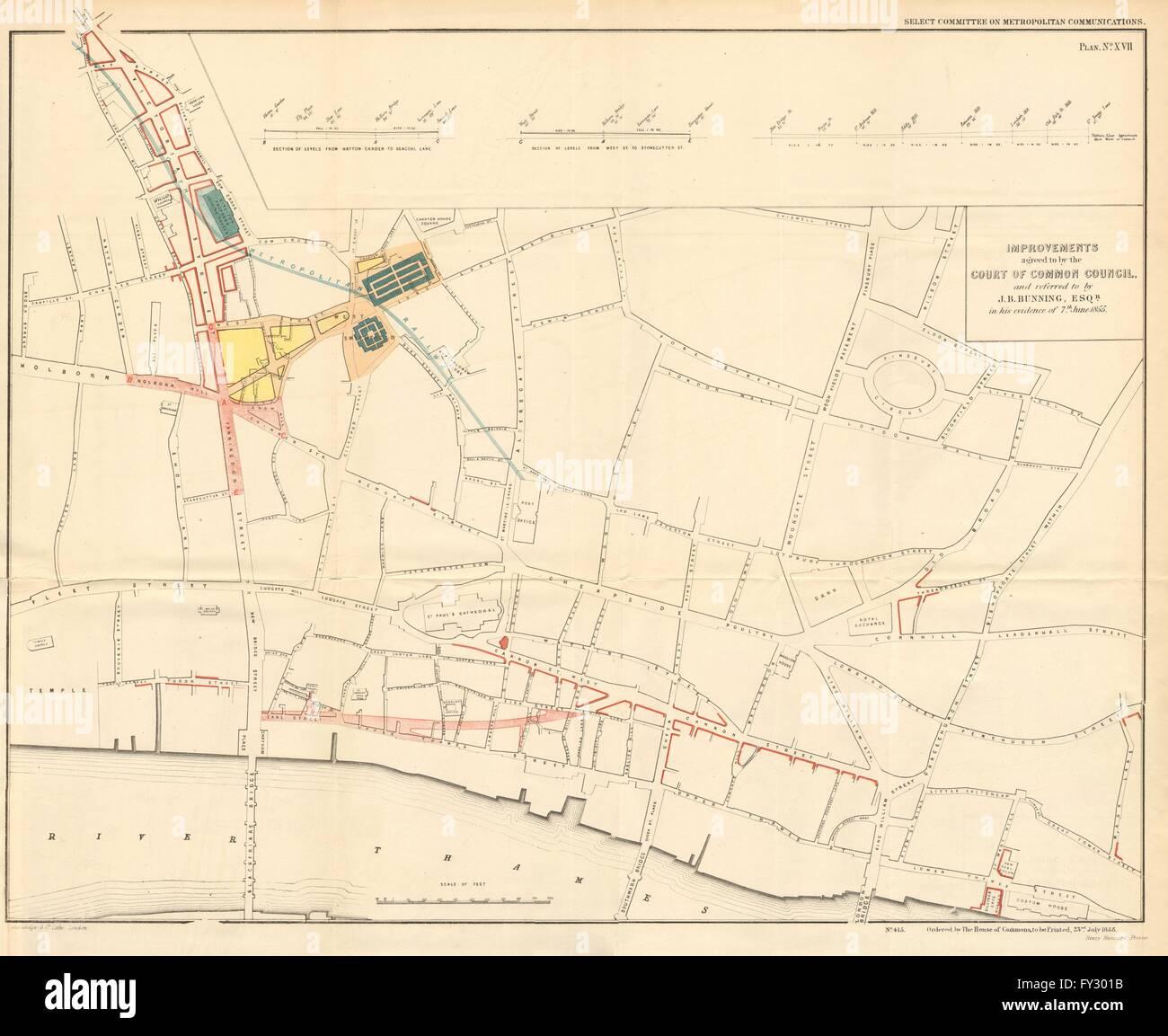 CITY OF LONDON Queen Victoria StreetFarringdon Road plans BUNNING