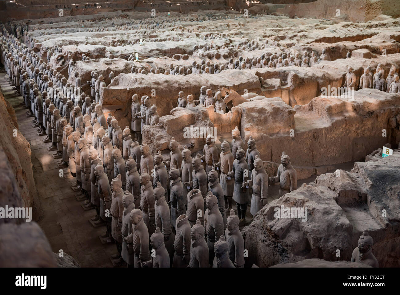 Qin Terracotta Warriors and Horses historic site, Xi'an, Shaanxi, China Stock Photo