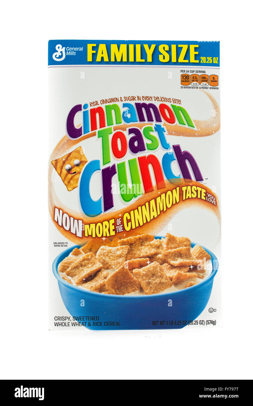 Winneconne, WI - 5  February 2015: Box of Cinnamon Toast Crunch cereal a product of General Mills. Stock Photo