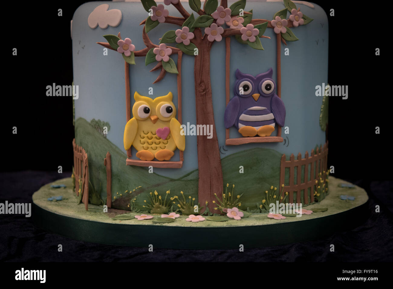 Owls On Swing Decorative Birthday Cake At International The Sugarcraft Decorating And Baking Show In London