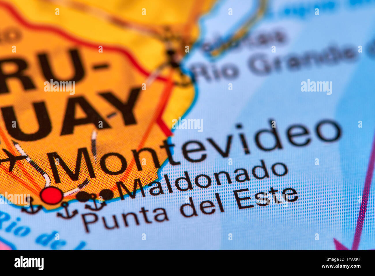 Montevideo, Capital City of Uruguay on the World Map - Stock Image