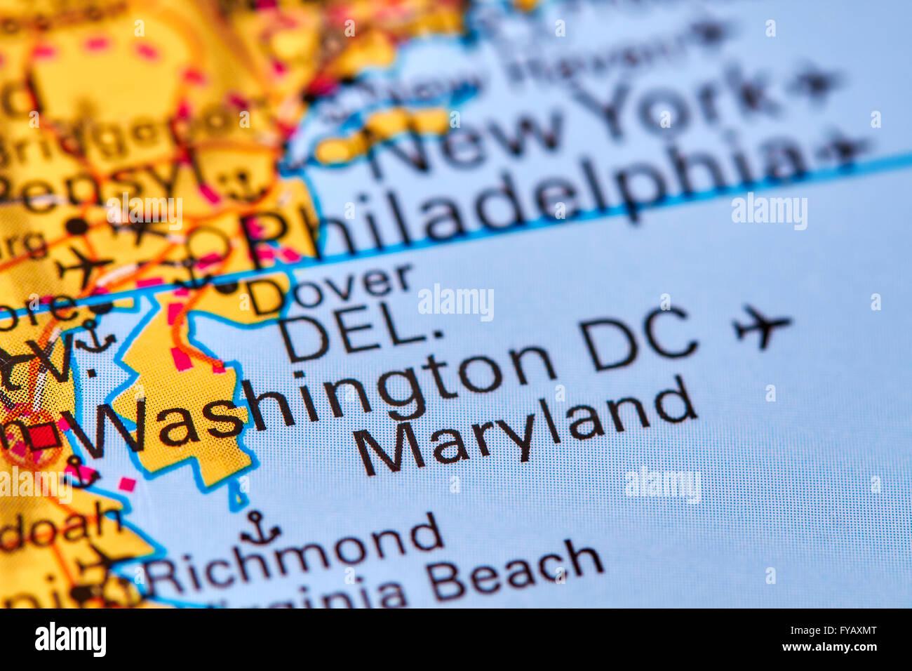 Washington DC, Capital City of the USA on the World Map Stock Photo ...
