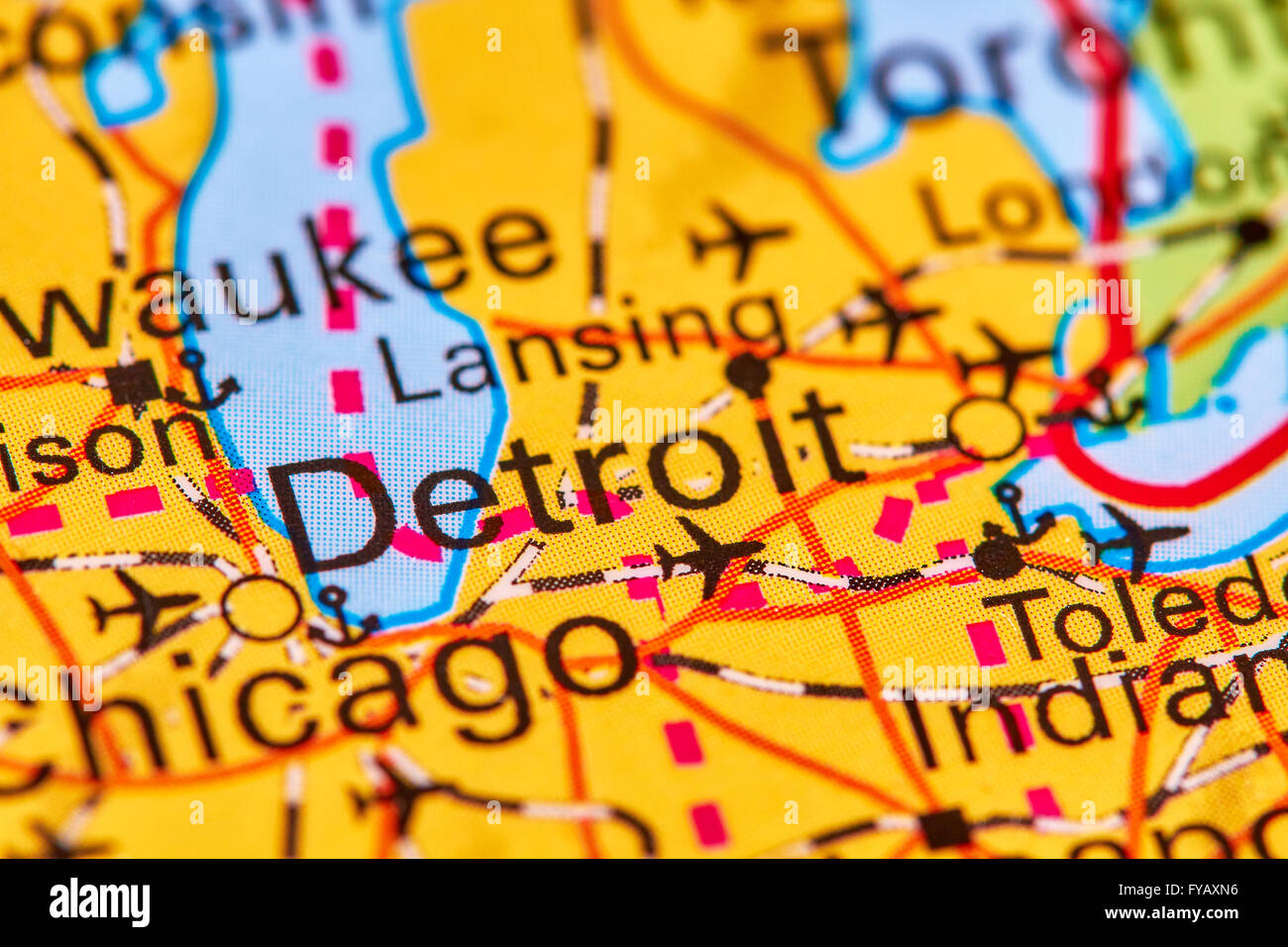 Detroit In Usa Map.Detroit City In Usa On The World Map Stock Photo 102888050 Alamy