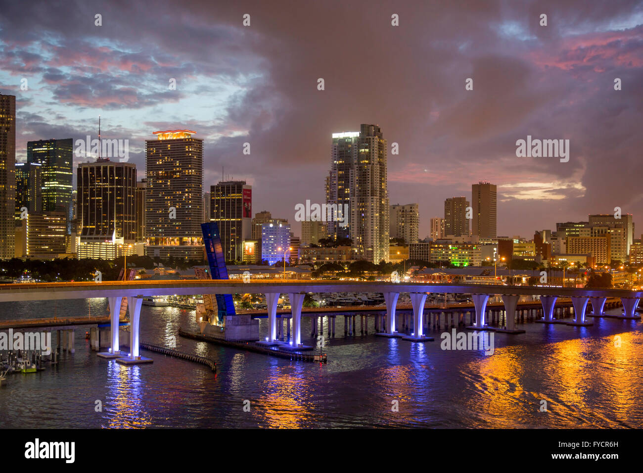 Twilight over the harbor and buildings of Miami, Florida, USA - Stock Image