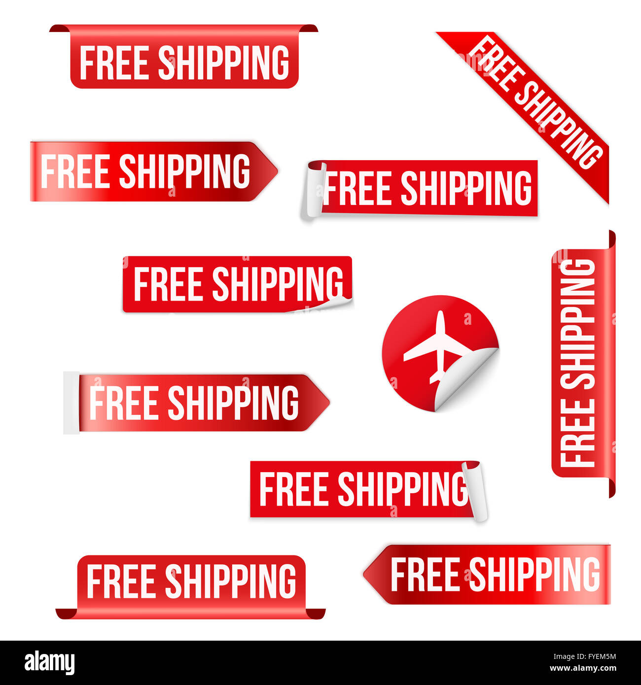 free shipping red label design stock photo 102970720 alamy