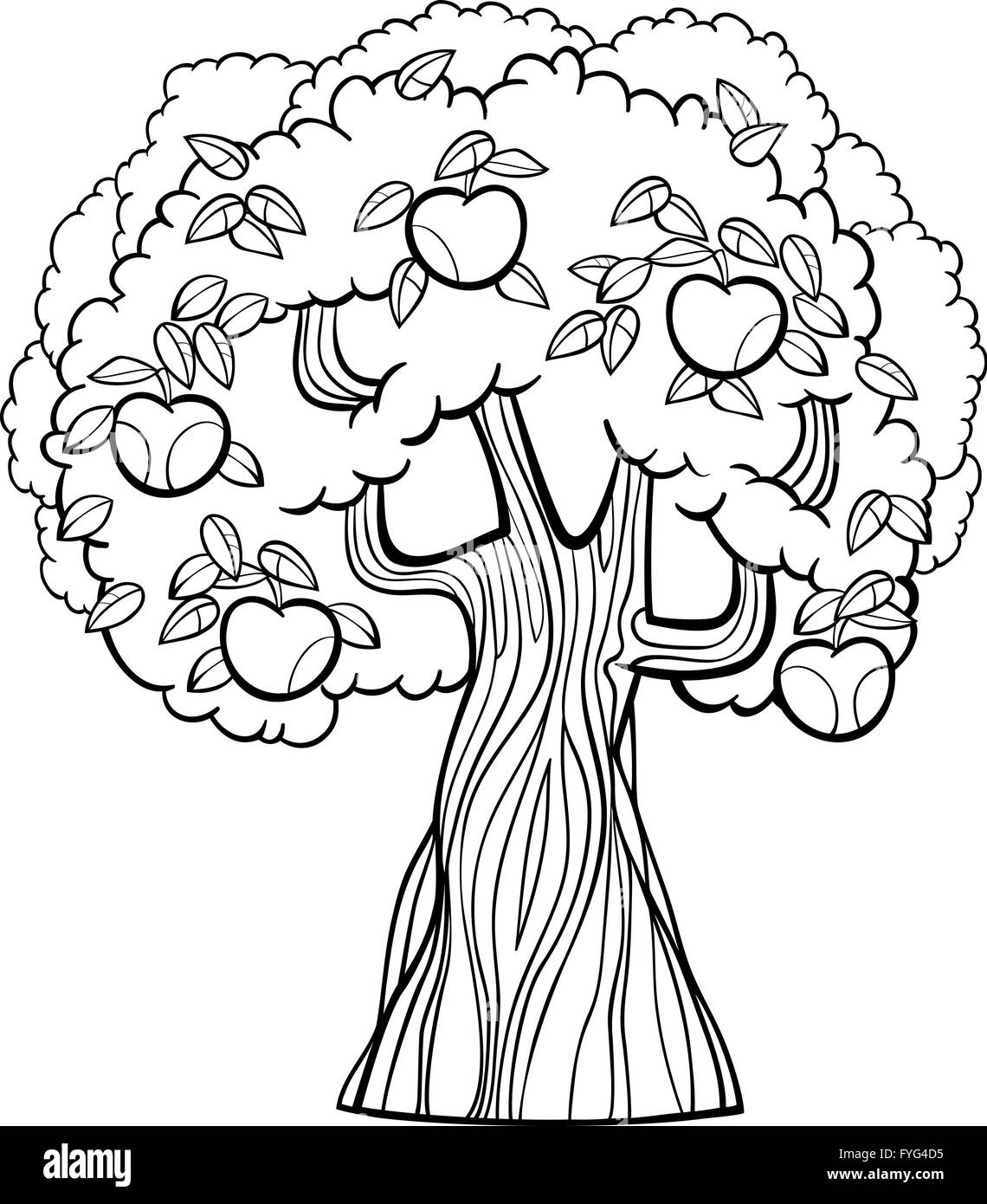 apple tree cartoon for coloring book Stock Photo: 103002289 - Alamy