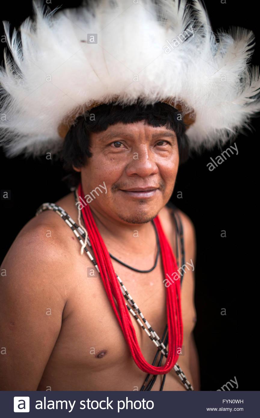 Gasmasakaka Surui  at Lapetanha with in the '7th September Indian Reserve' Rondonia, Brazil. - Stock Image