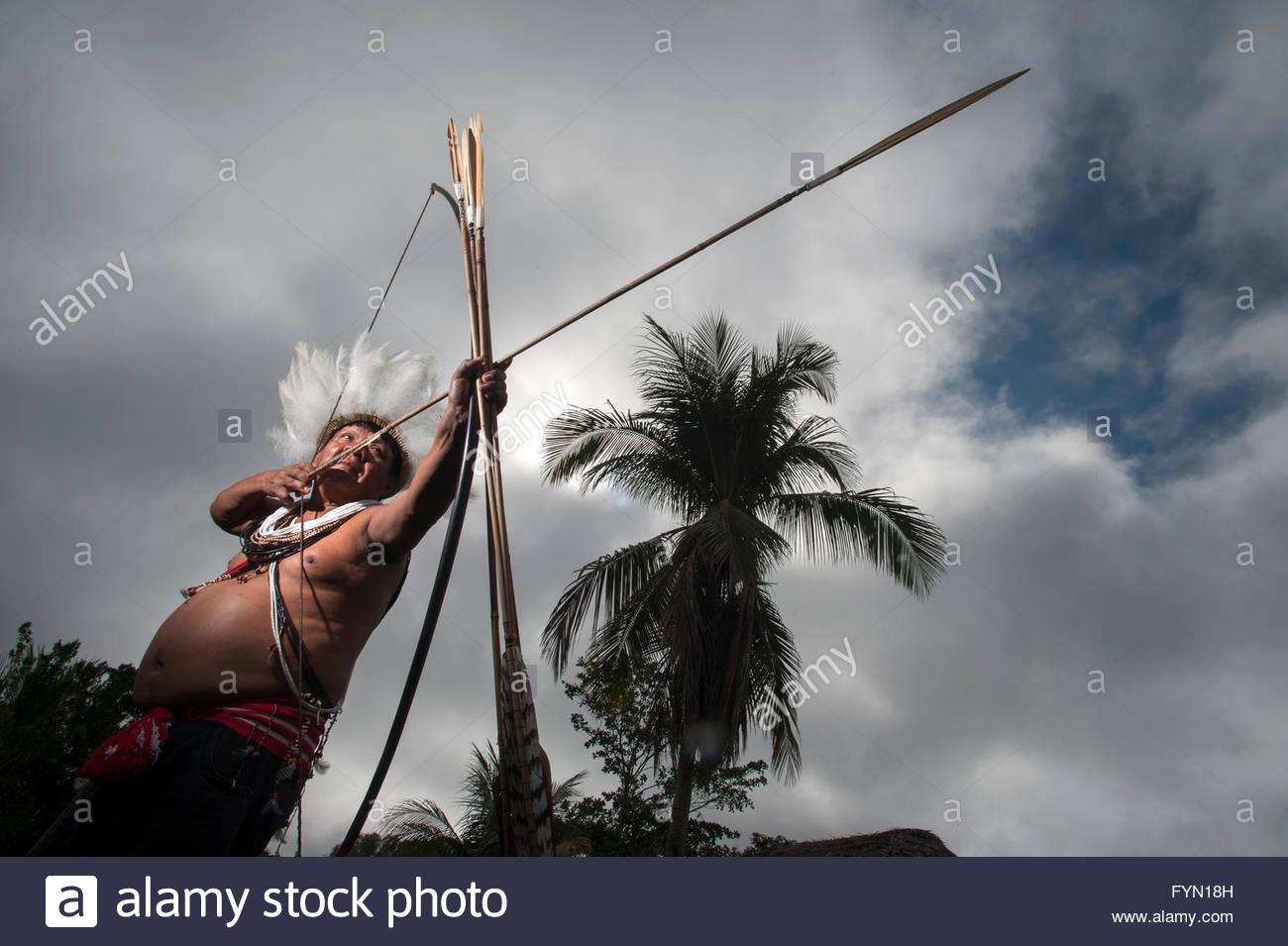 Moplip Surui in Lapetanha, Rondonia, Brazil at the '7th September Indian Reserve'. - Stock Image