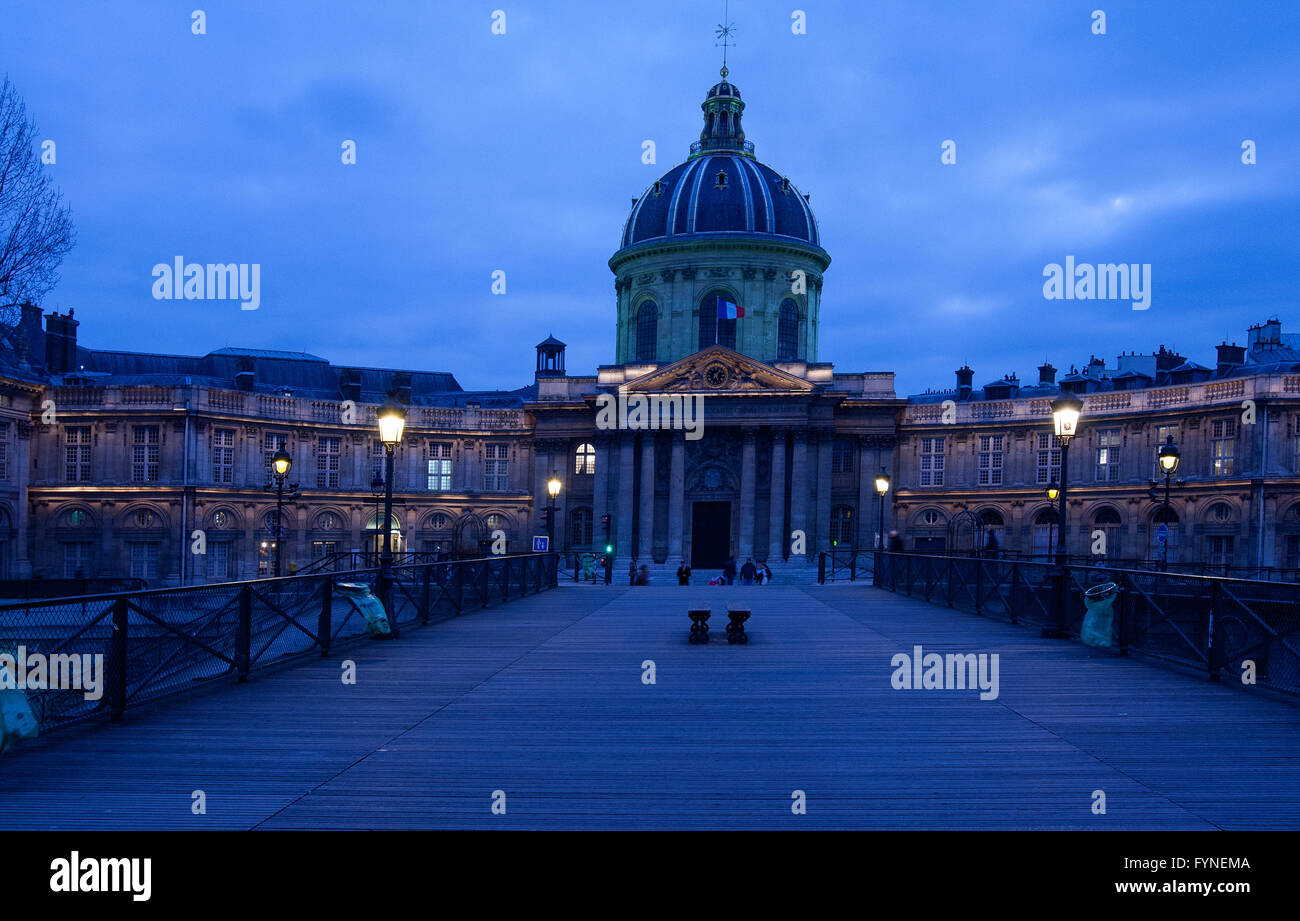 The Pont des Arts at twilight Paris France Stock Photo