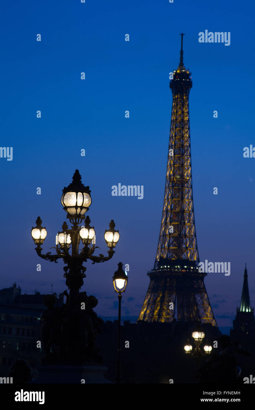 Twilight blue in Paris France Stock Photo