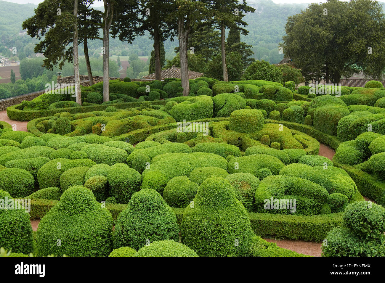 The picturesque gardens of Marqueyssac Dordogne France Stock Photo