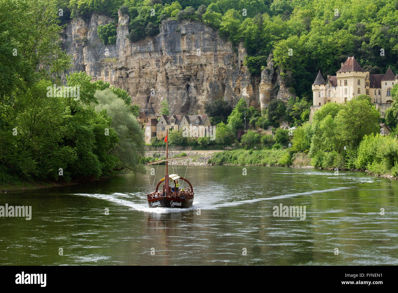 Tourist boat along Dordogne river South west France Stock Photo