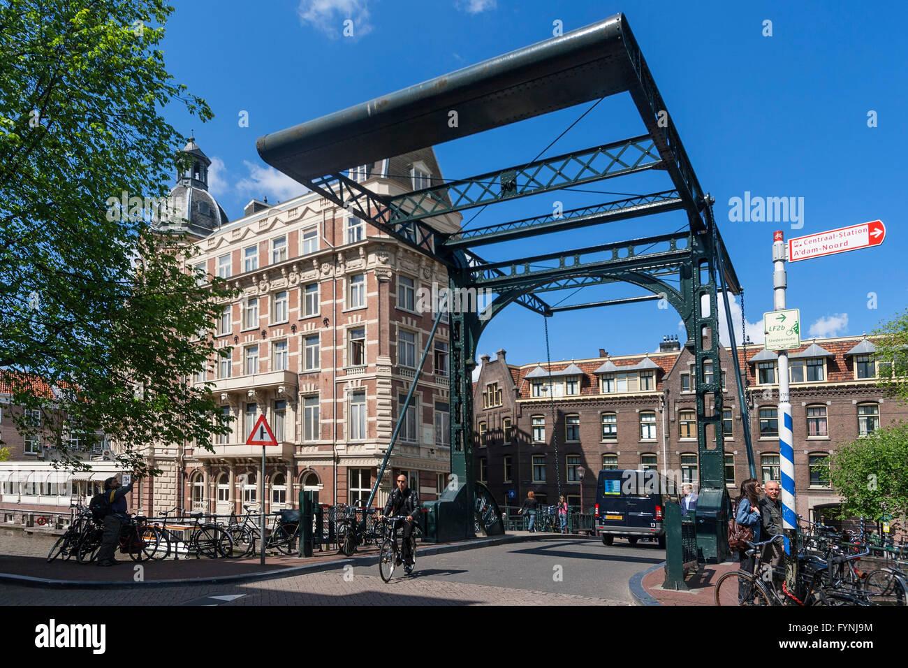 Draw Bridge, NH Doelen Hotel, Amsterdam, Netherlands Stock Photo
