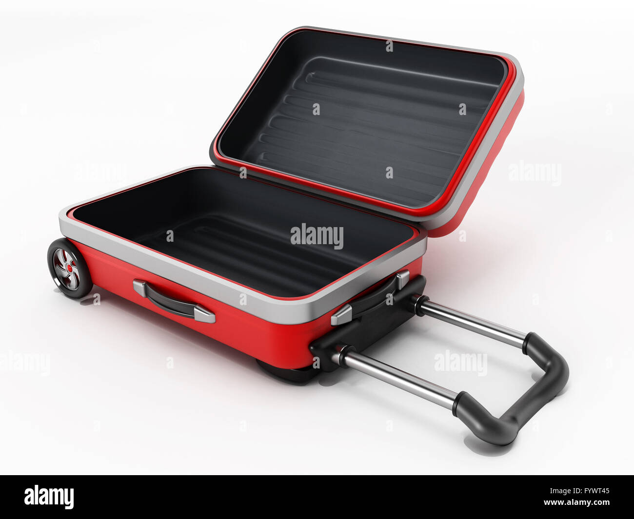 Red suitcase with open lid isolated on white backgroundStock Photo