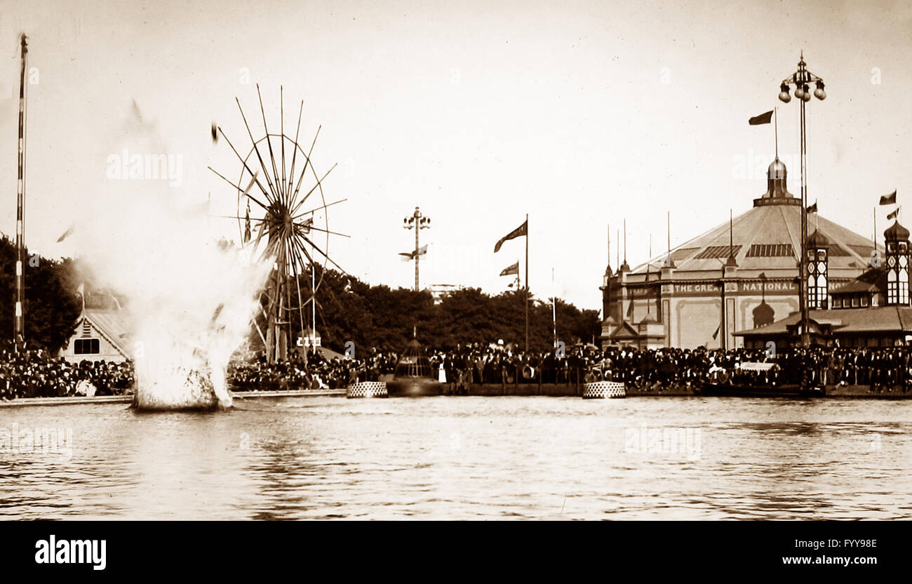 Royal Naval Exhibition 1891 - Whitehead Torpedo demonstration Stock Photo