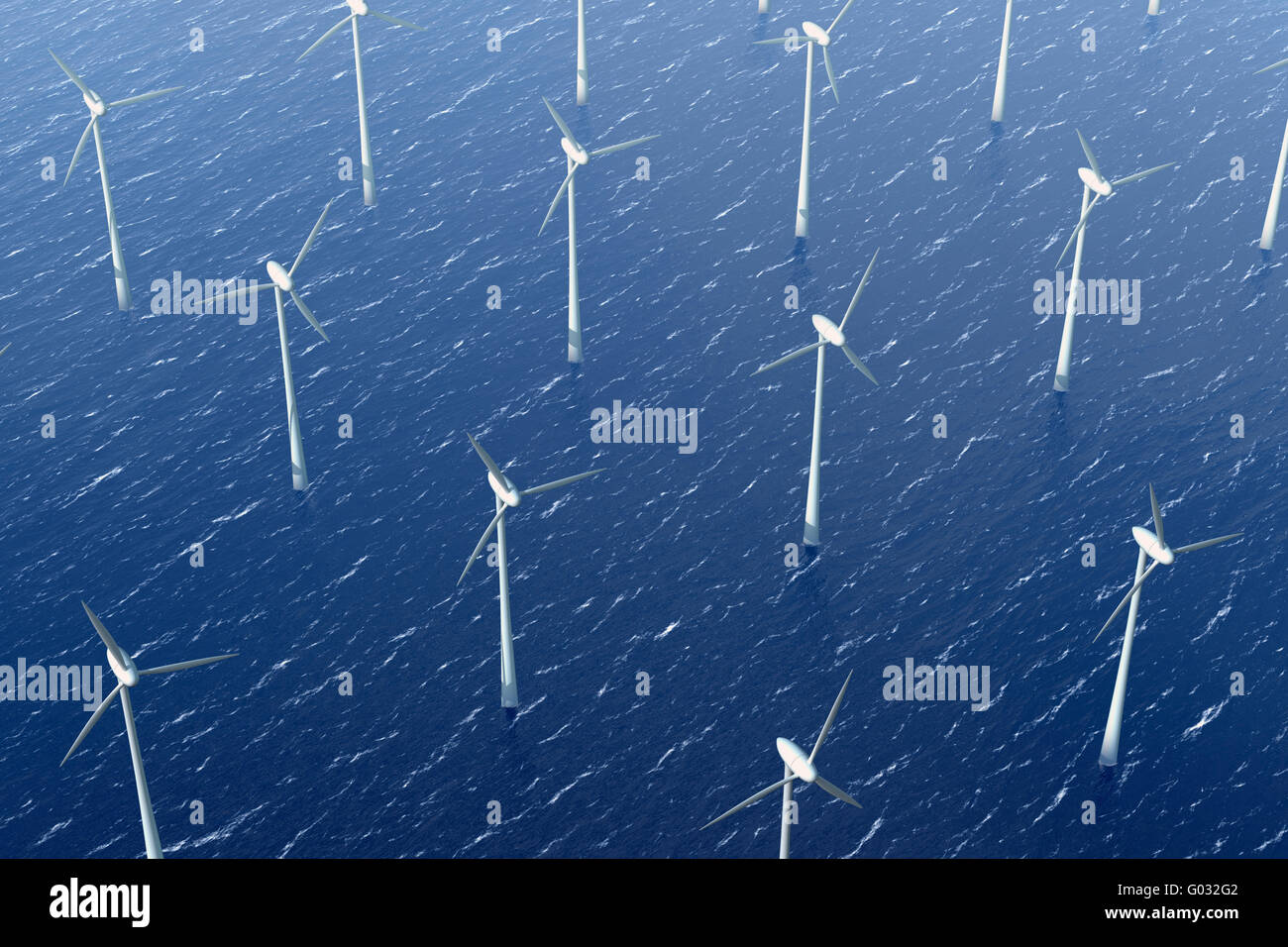 Wind turbines in the water - Stock Image