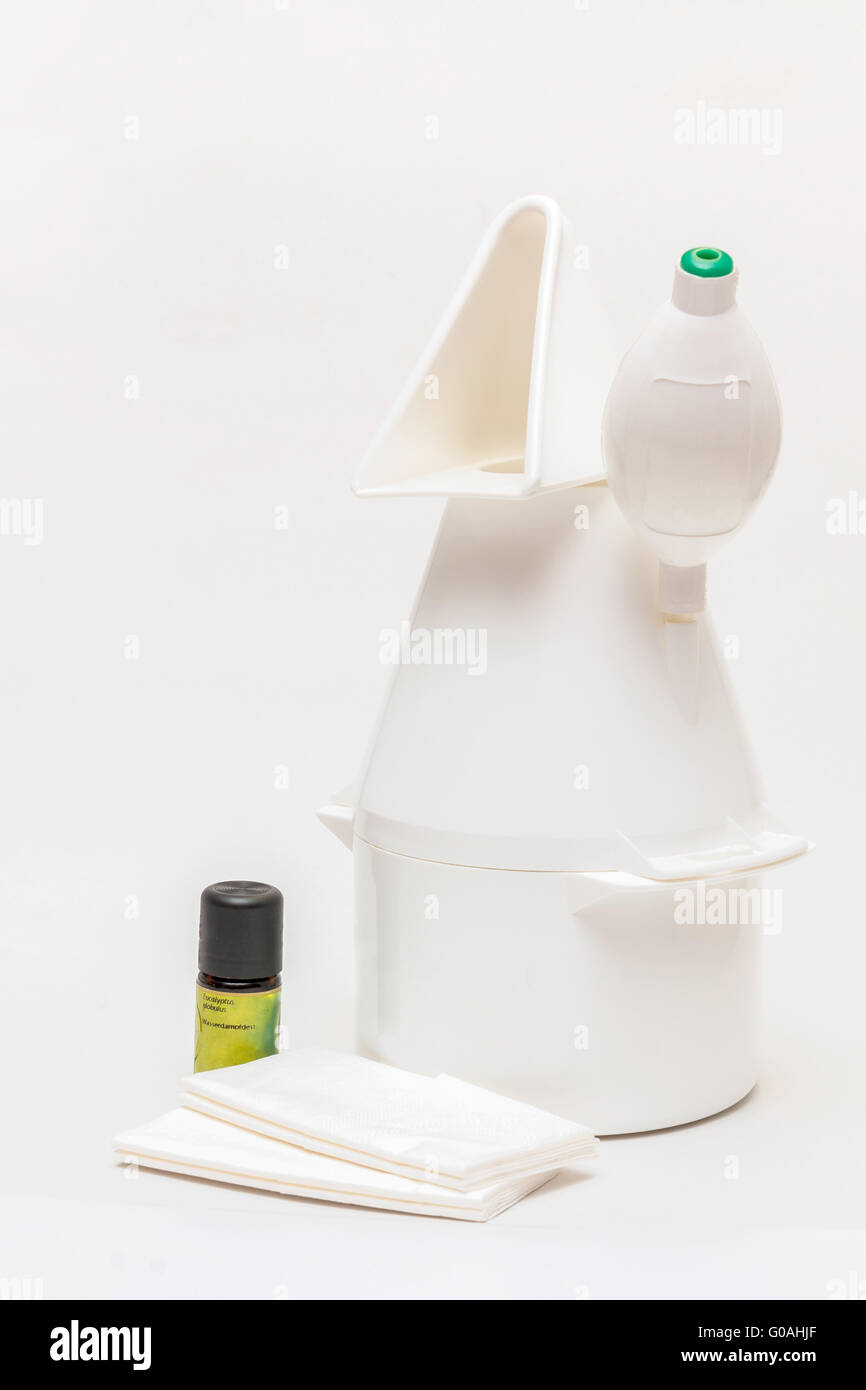 Vaporizer with eucalyptus oil and paper-handkerchi - Stock Image