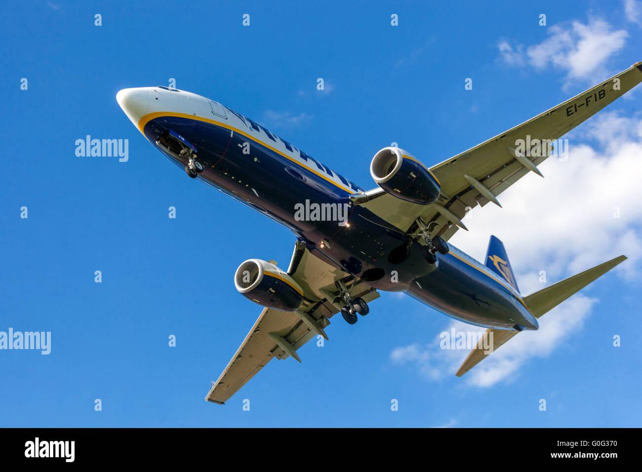 Plane Boeing 737 Ryanair approaching for a landing, Vaclav Havel Airport, Ruzyne Prague, Czech Republic - Stock Image