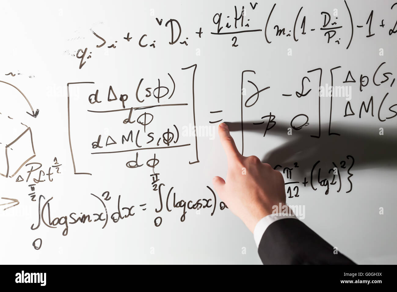 Teacher Pointing Finger On Equality Math Symbol On Whiteboard Stock