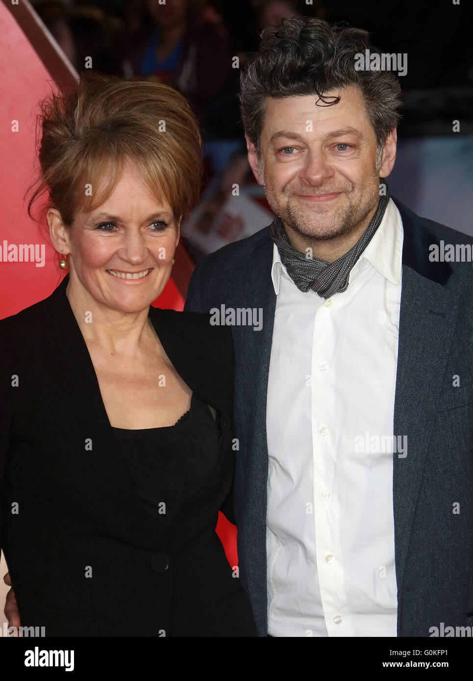 March 22, 2016 - Andy Serkis and Lorraine Ashbourne attending The European Premiere of 'Batman V Superman: Dawn - Stock Image
