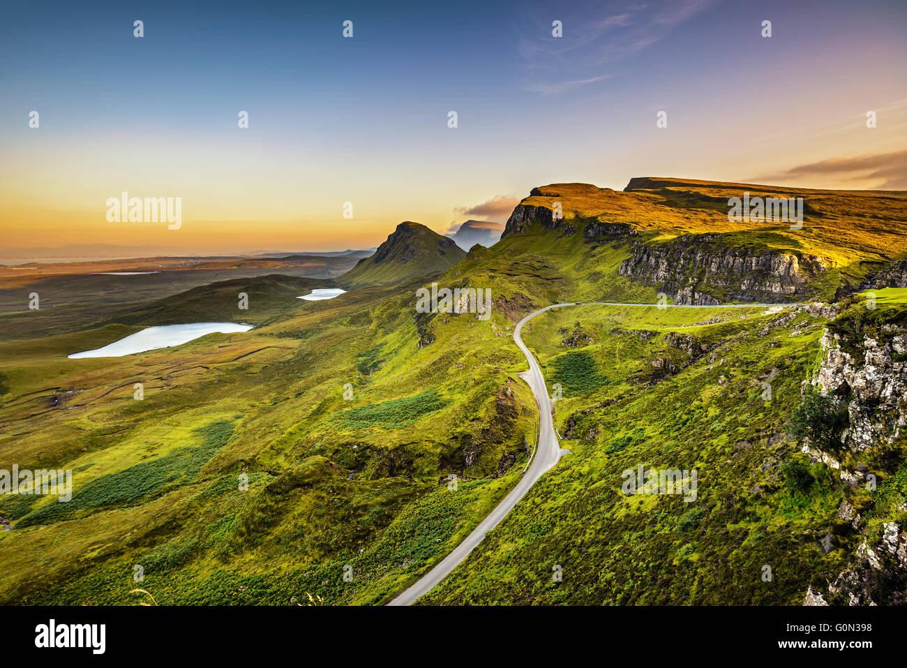 Quiraing mountains sunset at Isle of Skye, Scottish highlands, United Kingdom - Stock Image