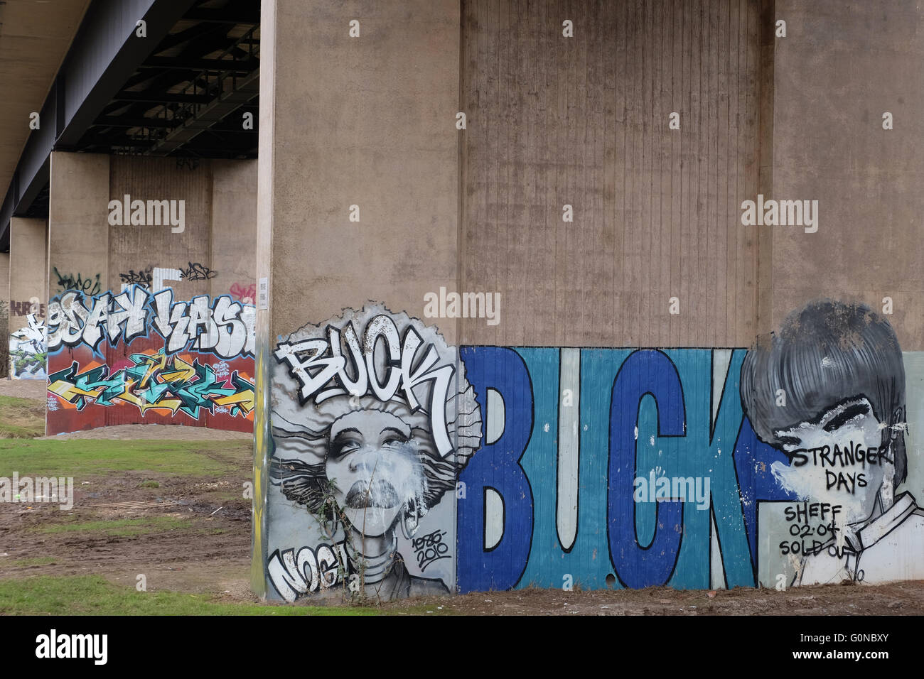 Graffiti on the piers of a concrete flyover - Stock Image
