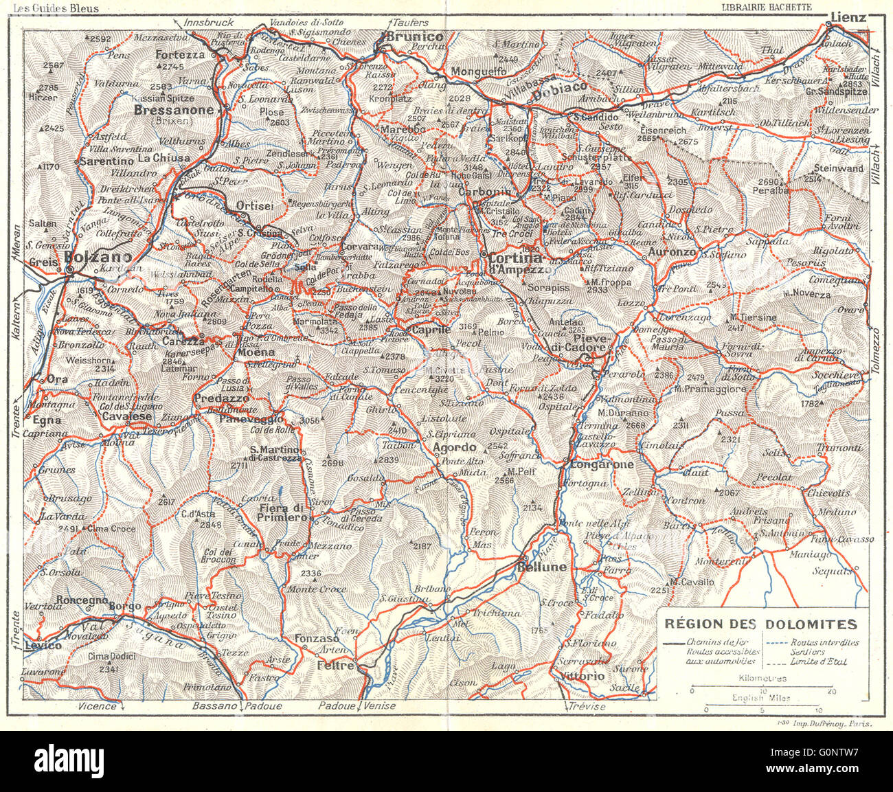 DOLOMITES Toblach Cortina DAmpezzo Region 1914 antique map Stock